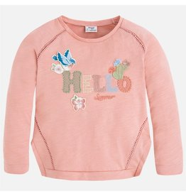 Mayoral Hello Long Sleeve Embroidered Top