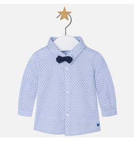Mayoral Long Sleeve Swiss Dot Button Up with Bow Tie