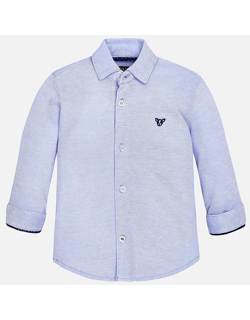 Mayoral Piqué Long Sleeve Button Up Top