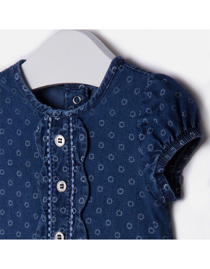 Mayoral Ruffle Placket Denim Baby Dress