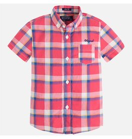 Mayoral Short Sleave Plaid Button Up Shirt