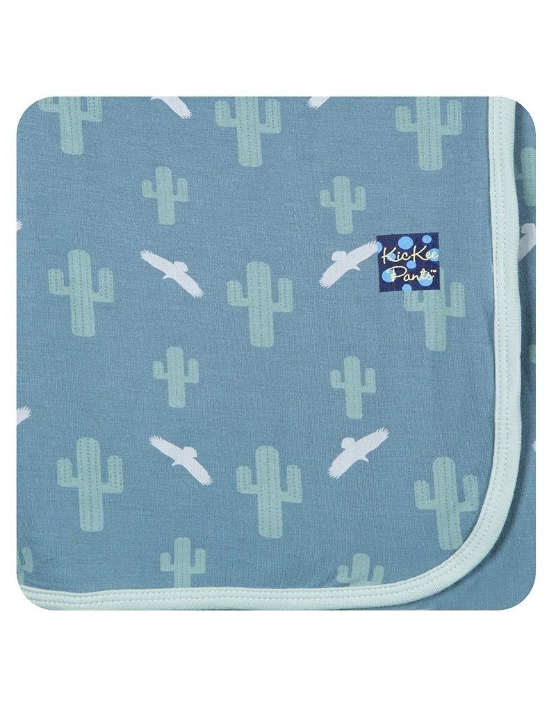 KicKee Pants Bamboo Blend Cactus Bird Print Swaddle Blanket