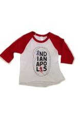 Kitten & Acorn Indy Cars Raglan Tee in Red