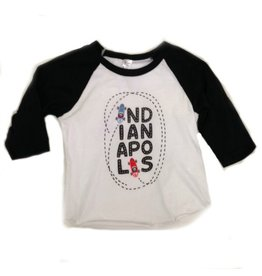 Kitten & Acorn Indy Cars Raglan Tee in Black