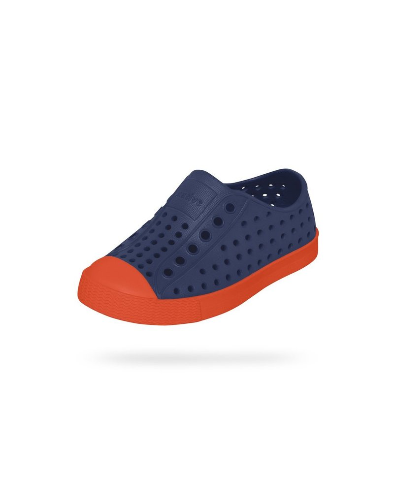 Native Shoes Jefferson Slip on Shoe in Regatta Blue/Flame Orange