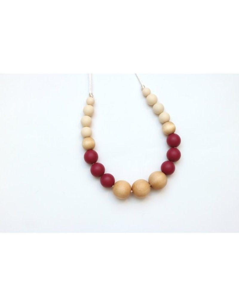 Wood and Silicone Ball Bead Teething Necklace