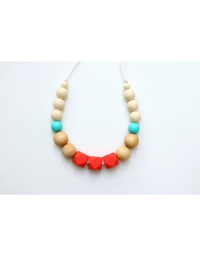 Bold Coral Teething Necklace