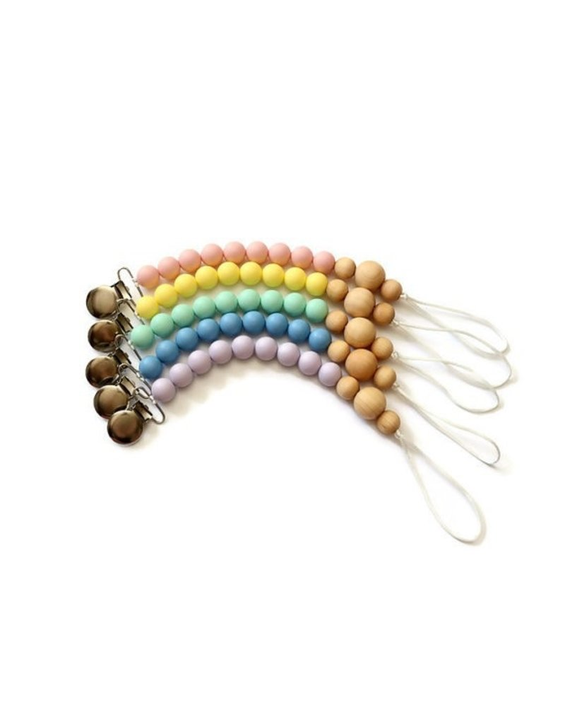 Silicone and Wood Bead Pacifier Clip