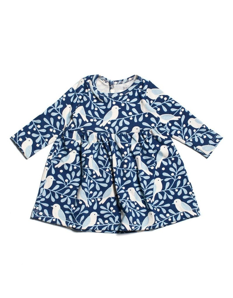 Winter Water Factory Organic Cotton Baby Dress in Birds & Blueberries