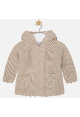 Mayoral Pompom Hooded Baby Cardigan