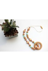 Wood and Silicone Teething Necklace with Wood Ring
