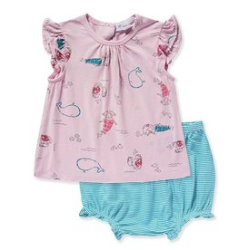 Angel Dear Mermaid Friends Flutter Sleeve Top & Bloomer Set