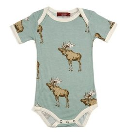 Milkbarn Bow Tie Moose Short Sleeve Bamboo One Piece