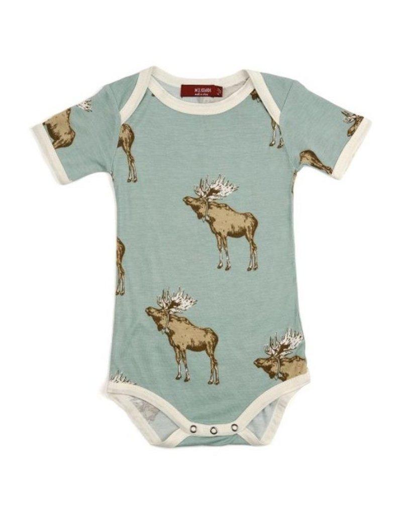 Milkbarn Bow Tie Moose Short Sleeve Bamboo One Piece