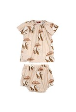 Milkbarn Panda Bamboo Dress & Bloomer Set