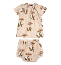 Milkbarn Panda Bamboo Dress & Bloomer Set