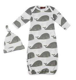 Milkbarn Organic Whale Print Newborn Hat & Gown Set