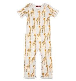 Milkbarn Giraffe Short Sleeve Organic Romper