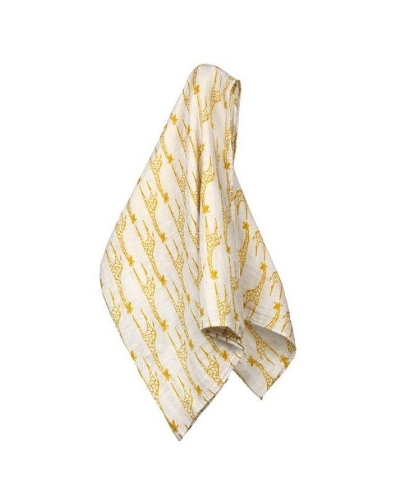 Milkbarn Giraffe Print Organic Muslin Swaddle Blanket
