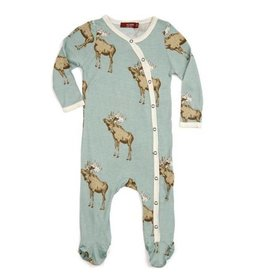 Milkbarn Bow Tie Moose Bamboo Footed Romper