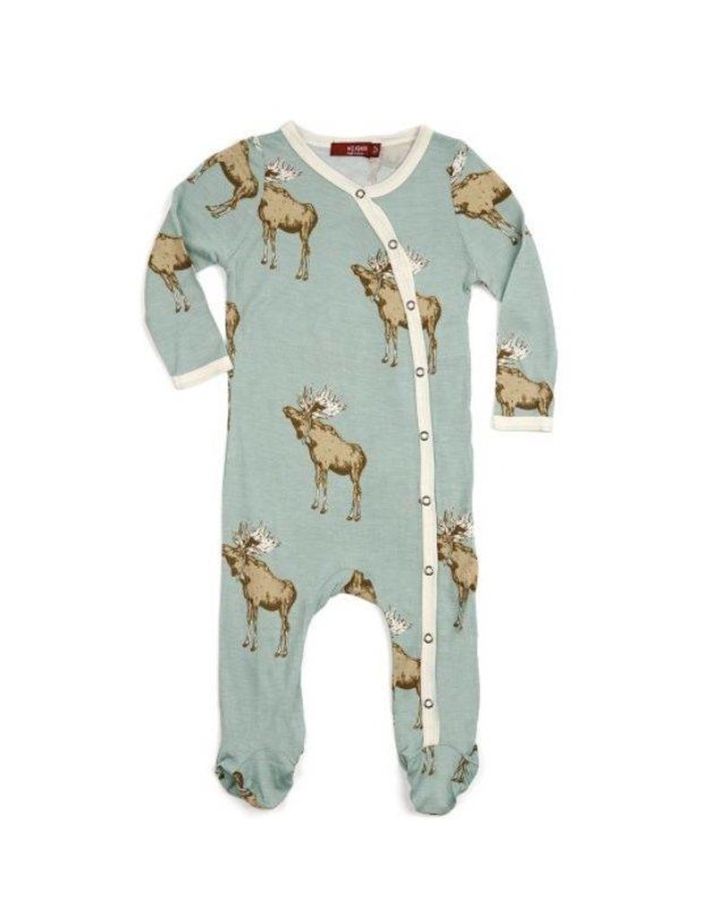 Milkbarn Bow Tie Moose Bamboo Footed Romper