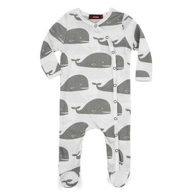 Milkbarn Organic Cotton Whale Footed Romper