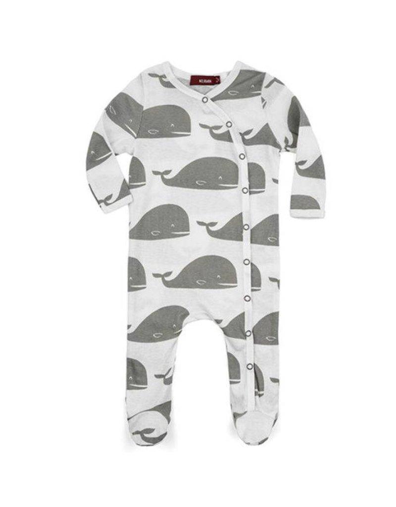 Milkbarn Whale Footed Romper