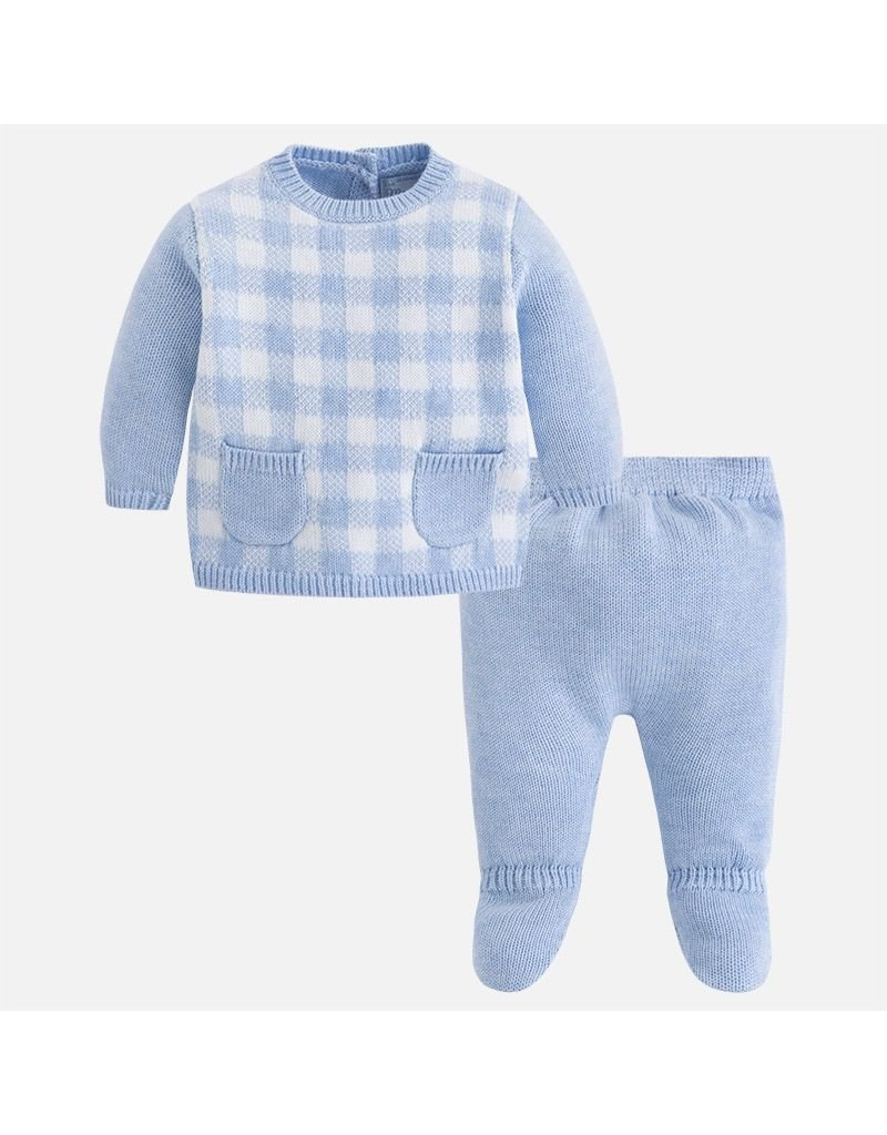Mayoral Plaid Knit Jumper with Knit Footed Pants