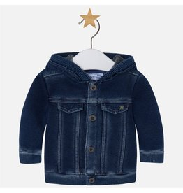 Mayoral Faux Denim Fleece Jacket with Hood