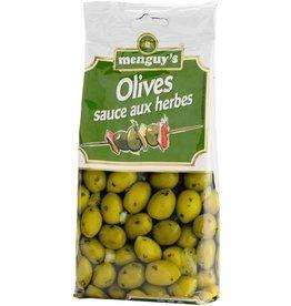 Olives vertes dans de la sauce aux herbes