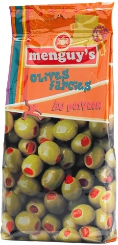 Olives vertes farcies aux poivrons