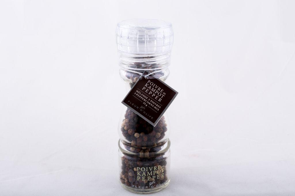 Moulin poivre de kampot, mélange de 3 poivres