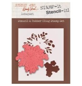 Stamper's Anomymous SA stamp and stencil bouquet