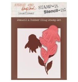 Stamper's Anomymous SA stamp and stencil coneflower
