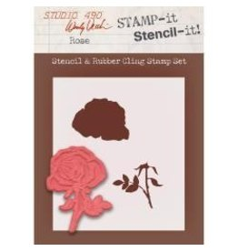 Stamper's Anomymous SA stamp and stencil rose