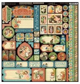 Graphic 45 G45 12x12 sticker sheet children's hour