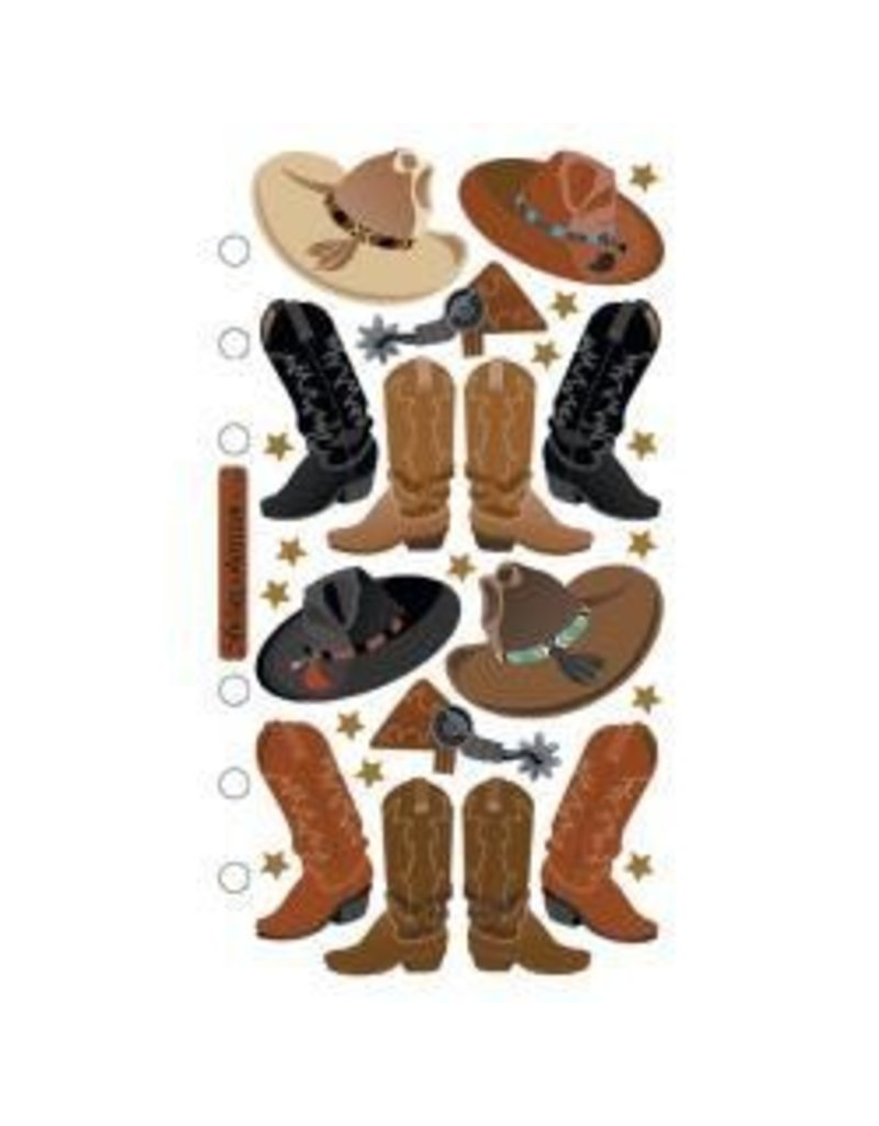 EK Success EK stickers cowboy boots repeat