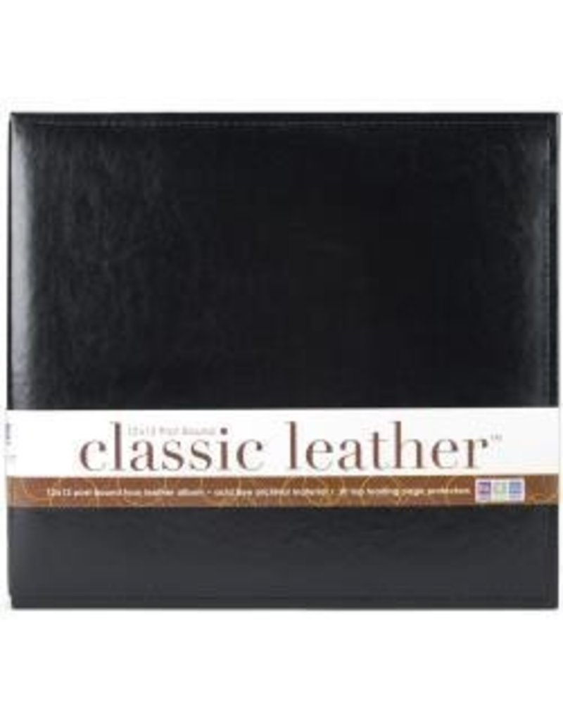 American Crafts AC 12x12 post album black leather