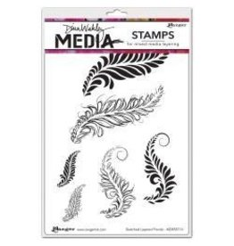 Ranger R stamp sketched layered fronds