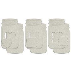 """FabScraps FS chipboard mason jars 3 pk 3x5 """""""