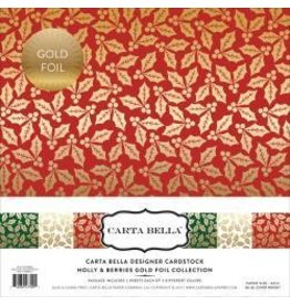 Carta Bella Cb 12x12 designer foil holly and berries