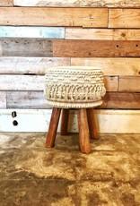 Macramae Stool w/ Wooden Legs
