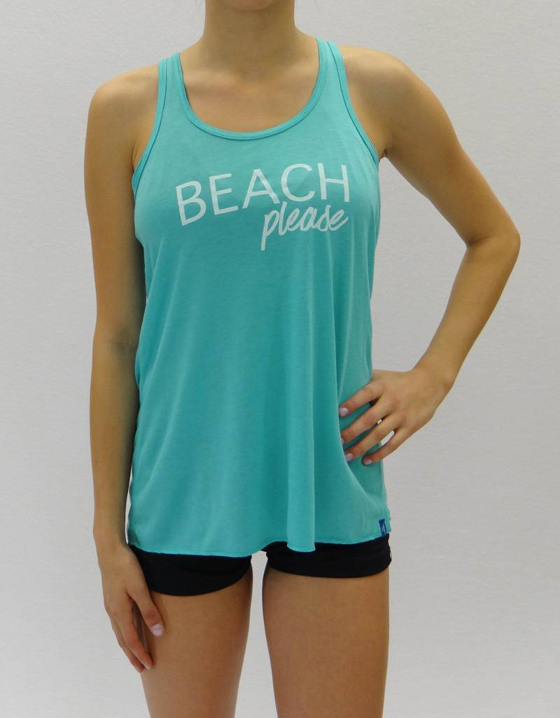 Melika Melika Beach Please Racer Tank Bright Turquoise