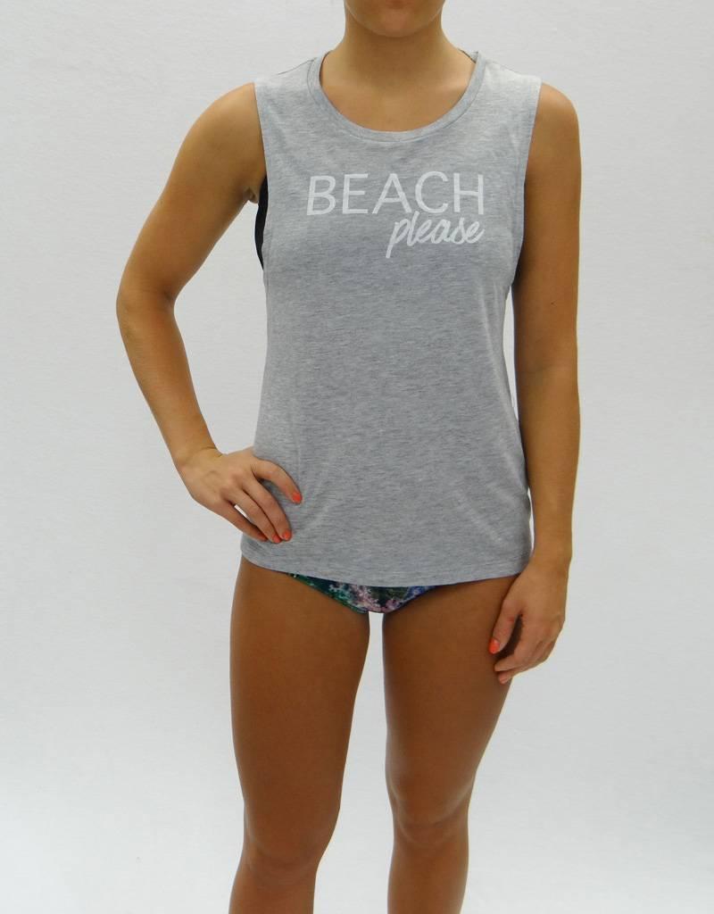 Melika Melika Beach Please Muscle Tank Grey Heather