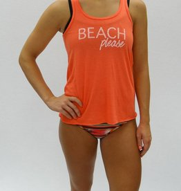 Melika Melika Beach Please Racer Tank Coral