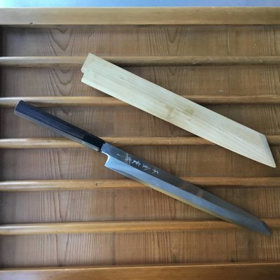 2nd Hand Kaneshige 300mm Kiritsuke Yanagi Aogami #2 Ebony Handle