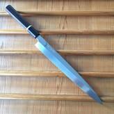 Yoshikazu Ikeda Honyaki 270mm Yanagi Oil Quench Shirogami #3 Ebony with Bone Spacer