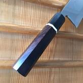 Yoshikazu Ikeda Honyaki 180mm Deba Oil Quench Shirogami #3 Ebony with Bone Spacer