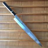 Yoshikazu Ikeda Honyaki 300mm Yanagi Oil Quench Shirogami #3 Ebony with Bone Spacer