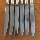 Apollonox Deco Dinner Knives Set of 6 Table Knives Stainless & Silver Plate France